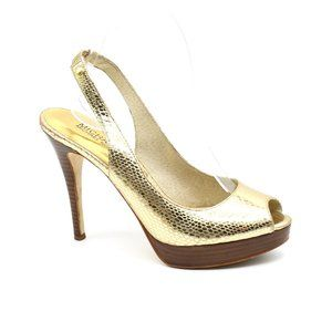 Michael Kors Sling Back Peep Toe Gold Snake 7.5